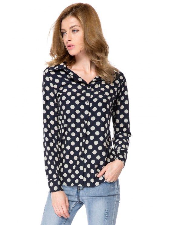 best Shirt Collar Polka Dot Print Shirt - WHITE AND BLACK S