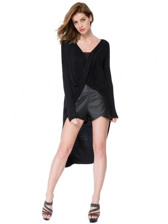 outfits Black V-Neck High-Low Hem Blouse - BLACK XS