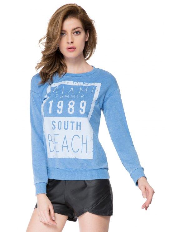 unique Letter Print Vintage Sweatshirt - BLUE S