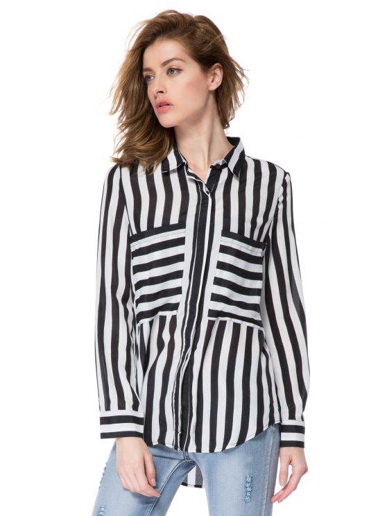 online Striped Double Pockets Shirt - STRIPE XS