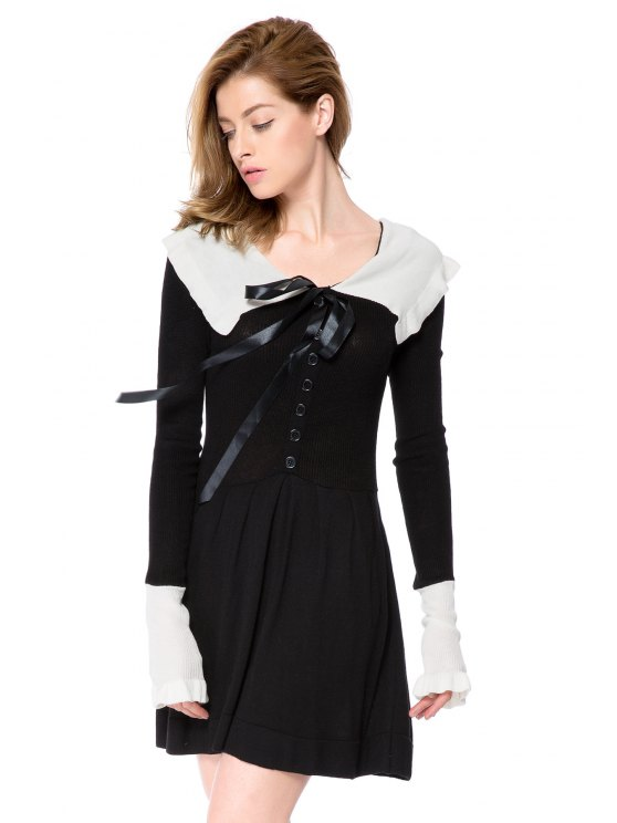 outfits Preppy Style Peter Pan Collar Long Sleeve Color Block Women's Sweater Dress - BLACK S