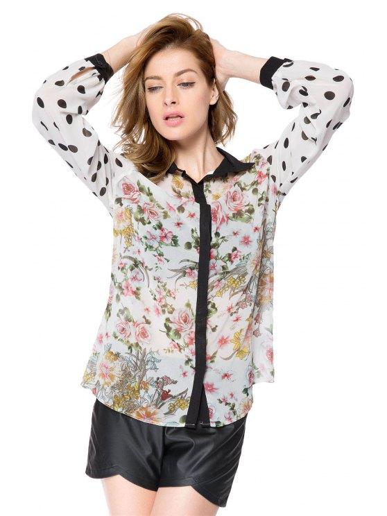 hot Floral and Polka Dot Print Shirt - COLORMIX XS