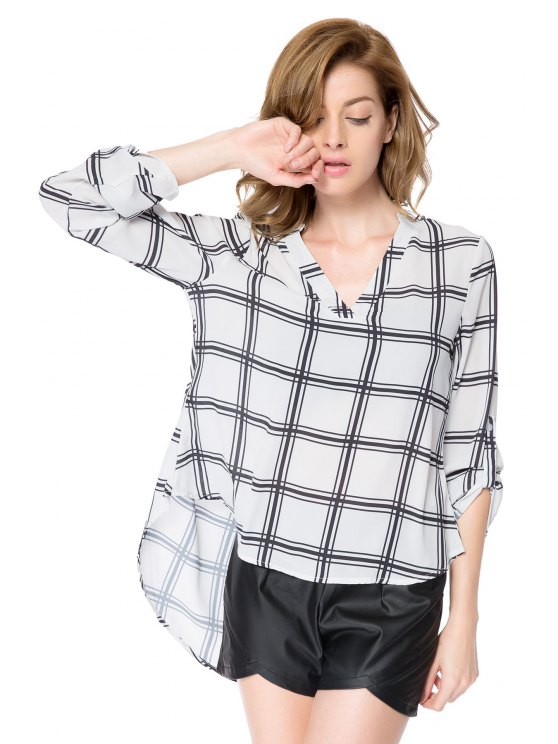 womens V-Neck Plaid Pattern Blouse - CHECKED XS