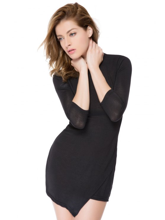 Bodycon 3/4 Sleeve Black Dress - BLACK XS Mobile