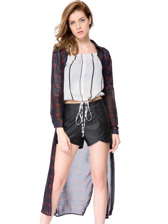 ladies Plaid Long Sleeve Maxi Shirt - CHECKED S
