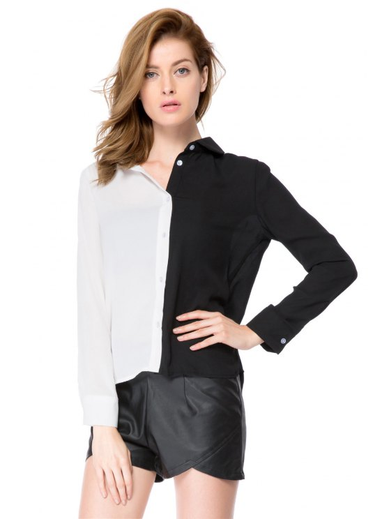 womens Shirt Collar Color Block Shirt - WHITE AND BLACK XS