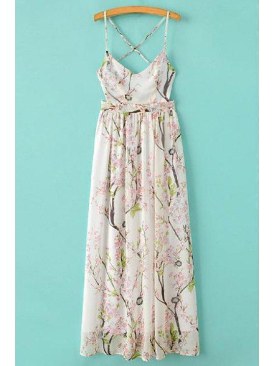 shop Floral Print Spaghetti Straps Maxi Dress - WHITE S