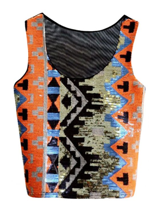 lady Geometric Pattern Sequins Tank Top - ORANGE ONE SIZE(FIT SIZE XS TO M)