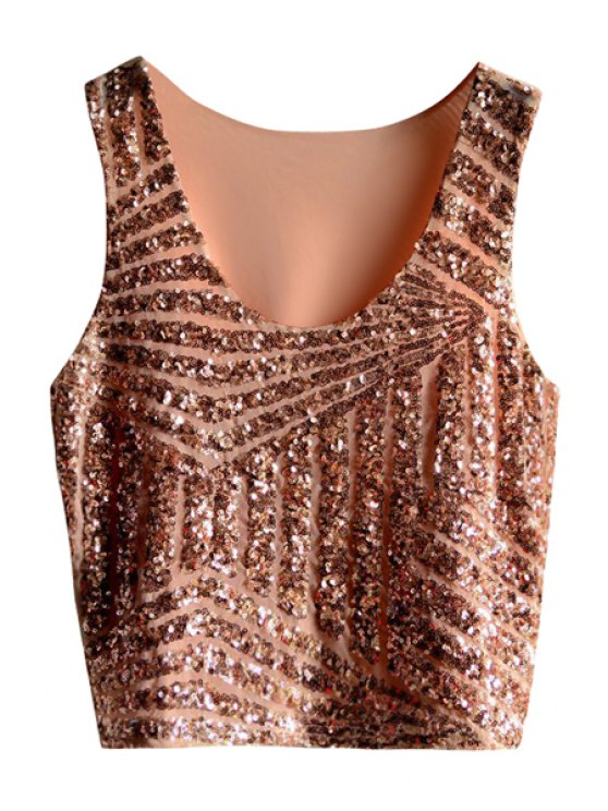 new Striped Sequins Tank Top - PINK ONE SIZE(FIT SIZE XS TO M)