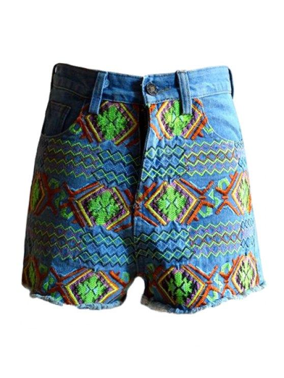 sale Ethnic Embroidery Denim Shorts - LIGHT BLUE S