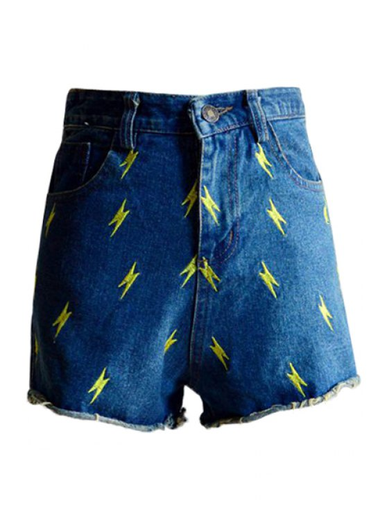 womens Lightning Embroidery Denim Shorts - DEEP BLUE S