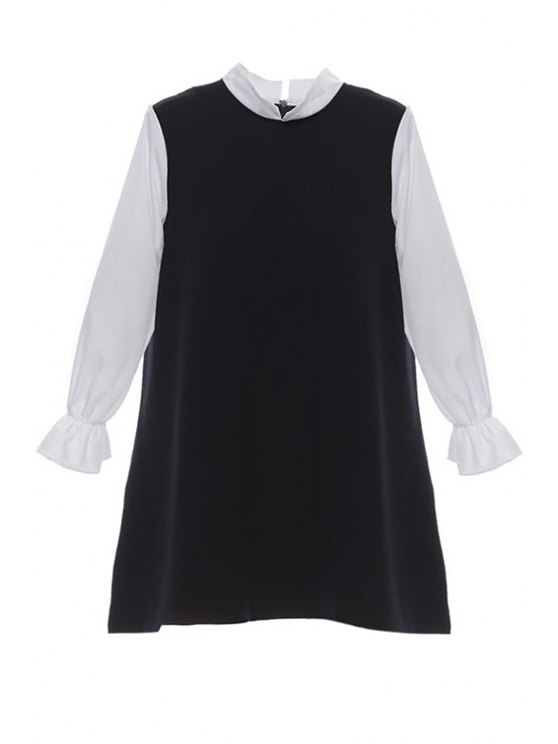 new Stand-Up Collar Color Block Dress - BLACK XS