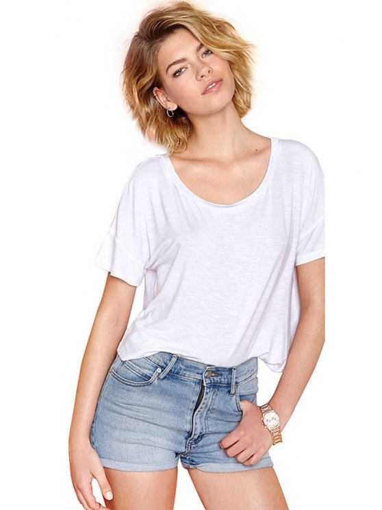 shop Solid Color Backless Cross T-Shirt - WHITE XS