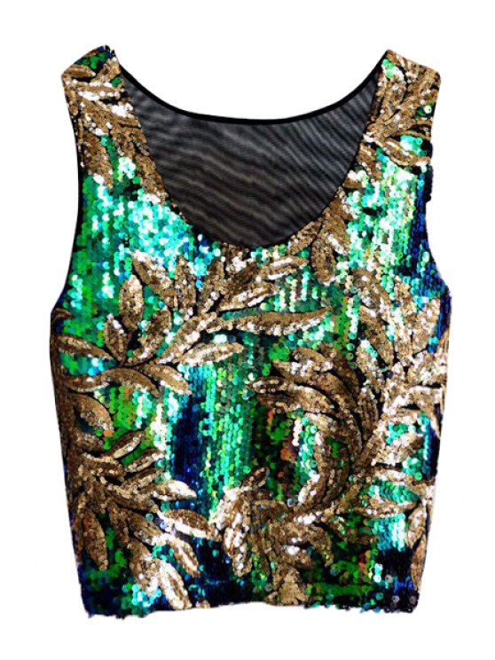 unique Leaf Green Sequins Tank Top - GREEN ONE SIZE(FIT SIZE XS TO M)