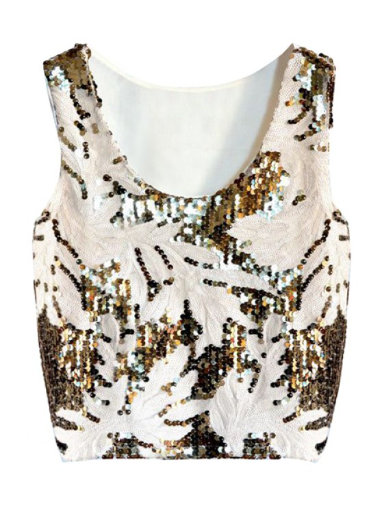 buy Leaf Apricot Sequins Tank Top - APRICOT ONE SIZE(FIT SIZE XS TO M)