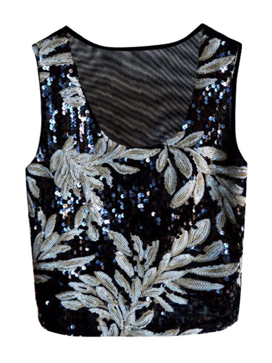 ladies Gray Leaf Sequins Tank Top - GRAY ONE SIZE(FIT SIZE XS TO M)