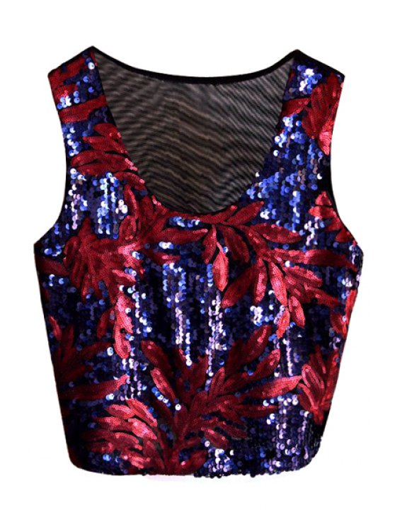 best Leaf Blue Sequins Tank Top - BLUE ONE SIZE(FIT SIZE XS TO M)
