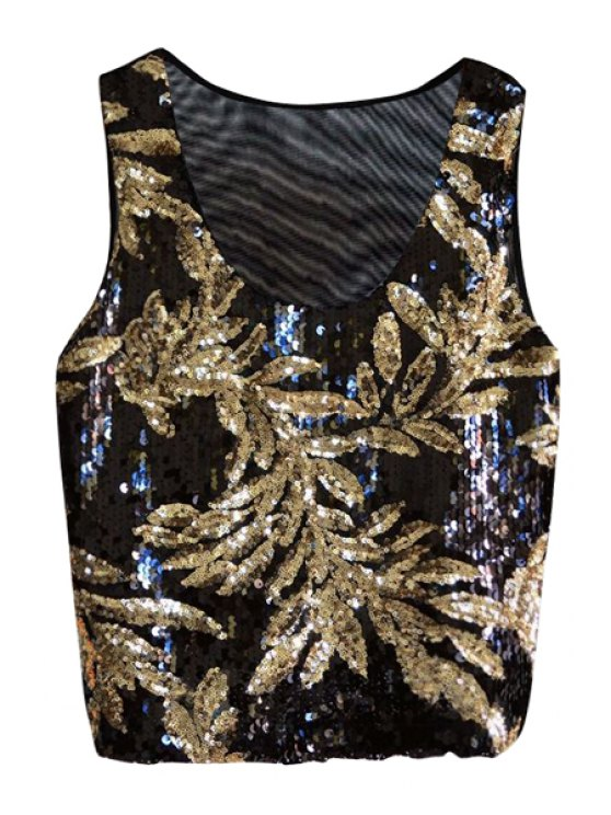 online Leaf Golden Sequins Tank Top - BLACK ONE SIZE(FIT SIZE XS TO M)