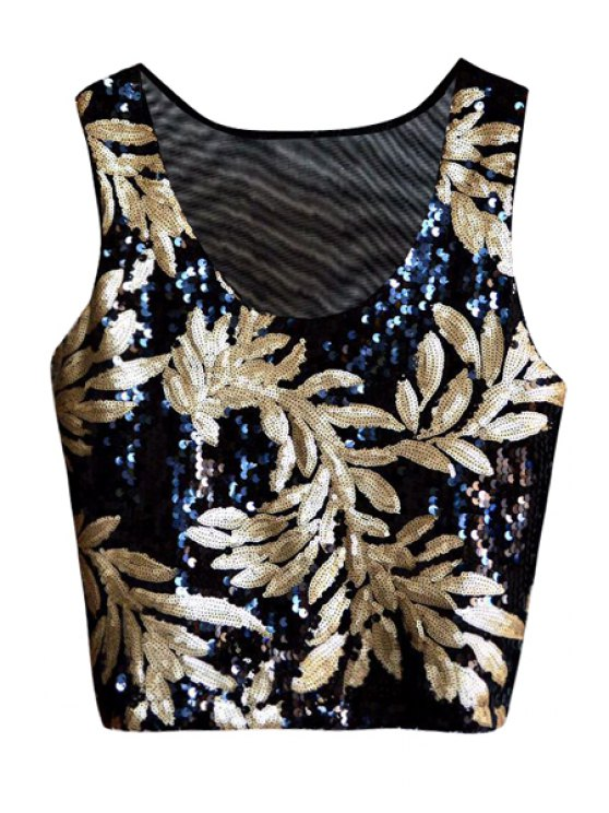 women Golden Leaf Sequins Tank Top - GOLDEN ONE SIZE(FIT SIZE XS TO M)