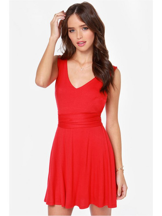women V-Neck Solid Color Backless Tie-Up Dress - RED XS