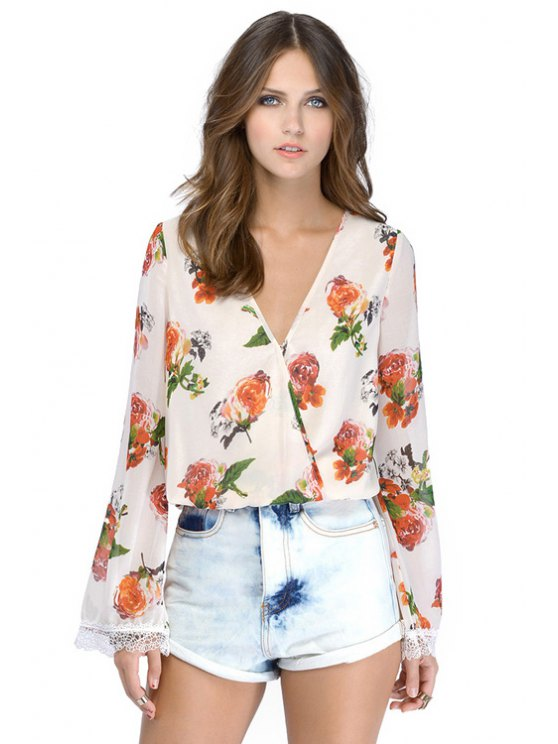 women Floral Print Backless Lace Splicing Shirt - WHITE XS