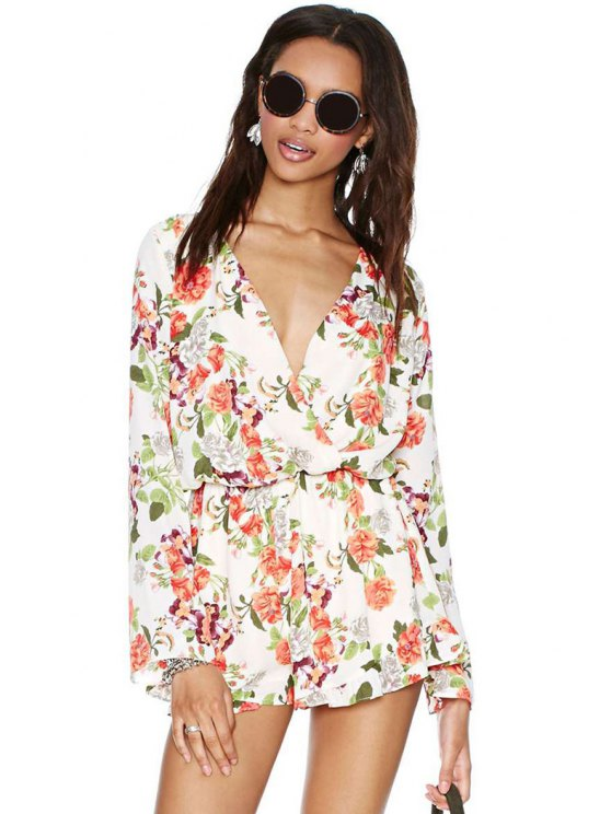 hot Full Floral Plunging Neck Rompers - JACINTH S