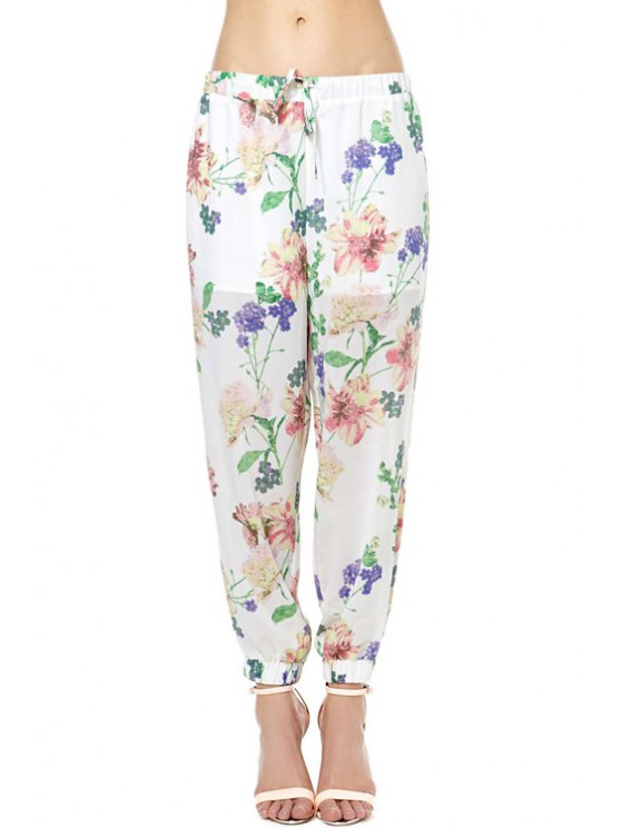 outfits Floral Print See-Through Tie-Up Pants - WHITE XS