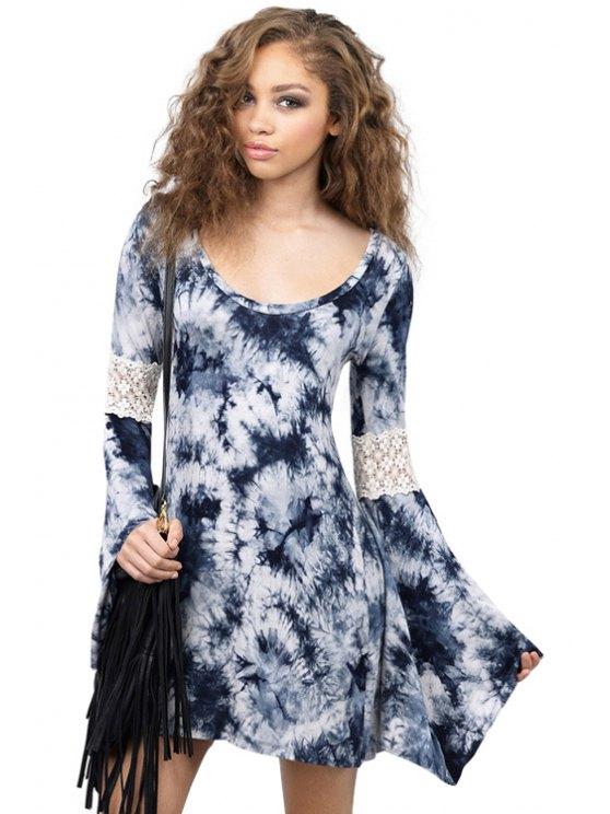 fashion Print Lace Splicing Bell Sleeve Dress - PURPLISH BLUE XS