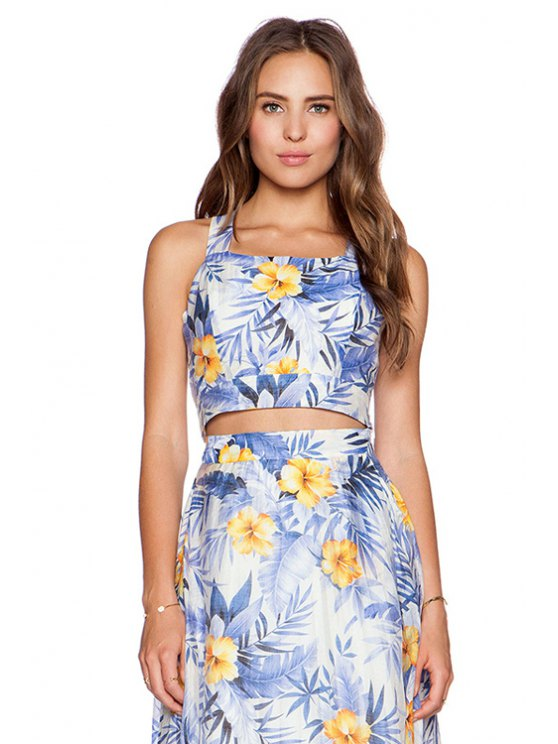 outfits Floral Print Backless Tank Top - COLORMIX XS