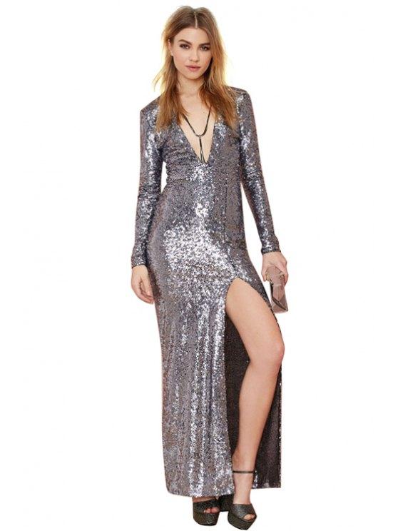 hot Sequins Backless Side Slit Dress - SILVER XS
