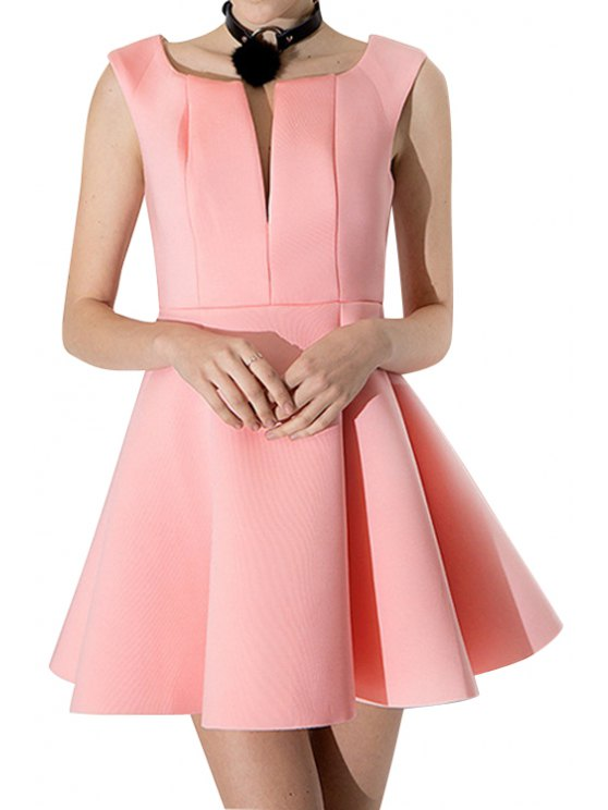 womens V-Neck Solid Color A-Line Dress - PINK XS