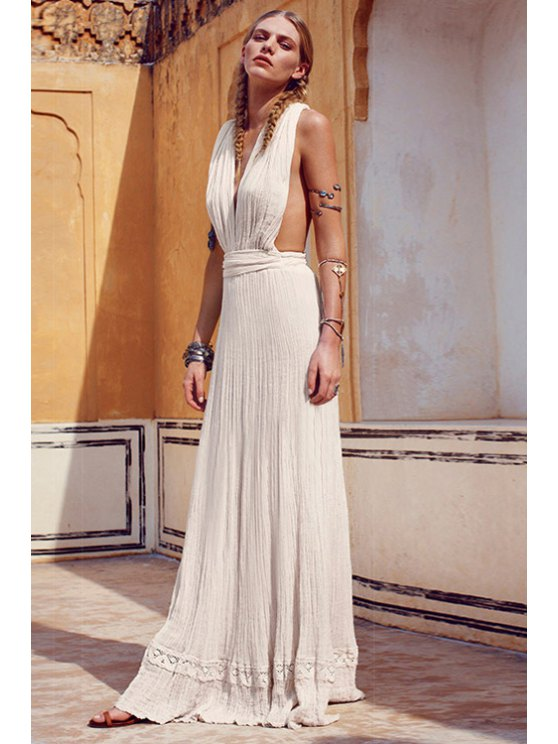 trendy Backless Solid Color Tie-Up Sleeveless Dress - WHITE XS