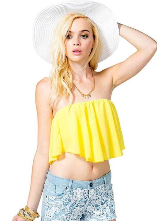 affordable Strapless Yellow Crop Top - YELLOW S