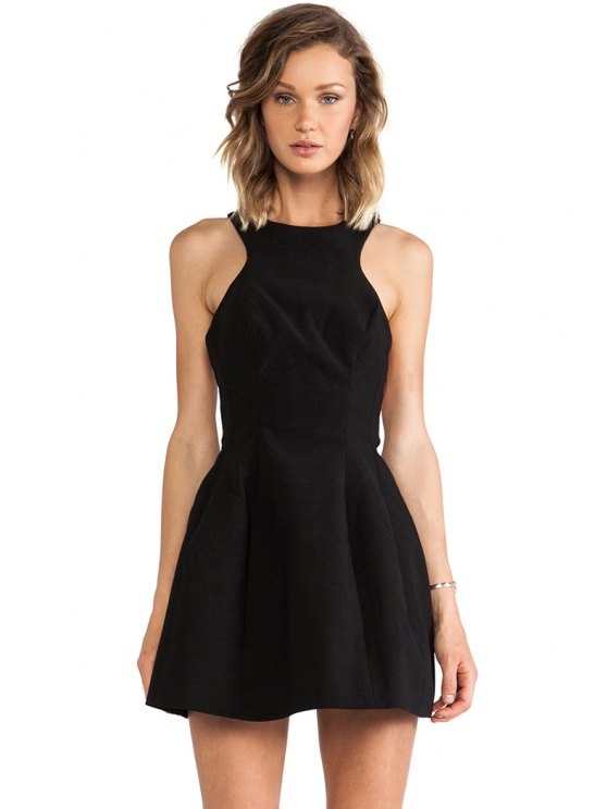 sale Backless A-Line Solid Color Dress - BLACK S