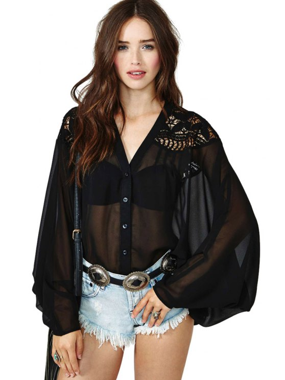 latest V-Neck Embroidery Splicing Blouse - BLACK S