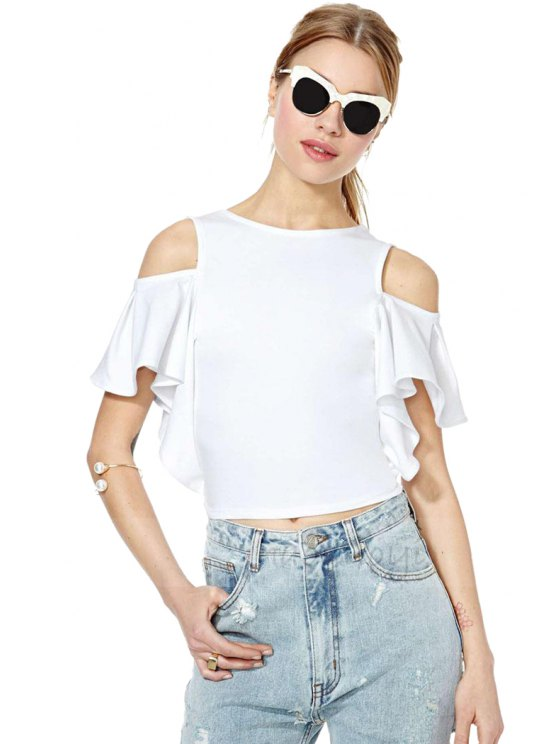 sale White Off-The-Shoulder T-Shirt - WHITE S