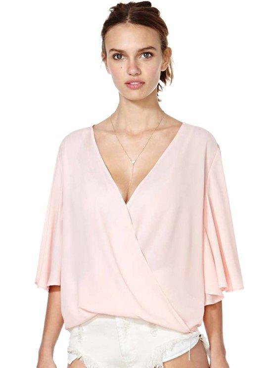 lady Pink Half Sleeve Chiffon Blouse - PINK S