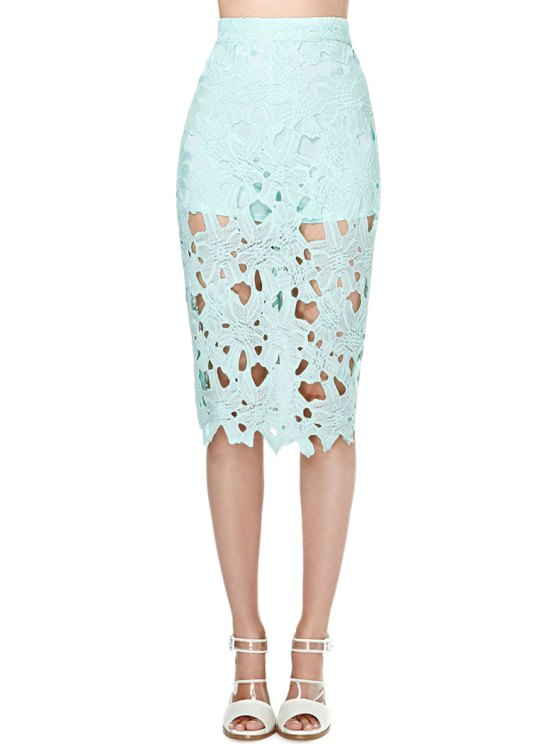 buy Hollow Out Solid Color Skirt - MINT GREEN S