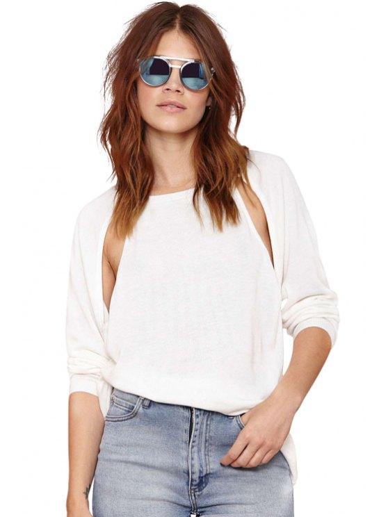 trendy White Cut-Out Knitwear - WHITE S