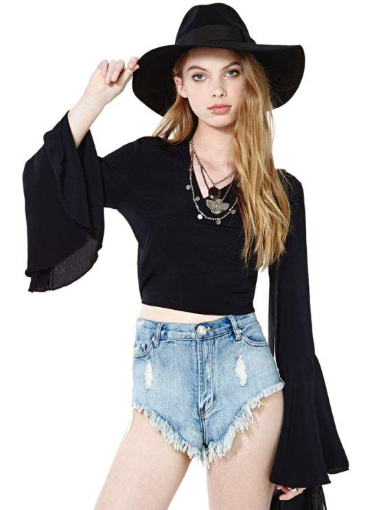 women's Black Flare Sleeve T-Shirt - BLACK S