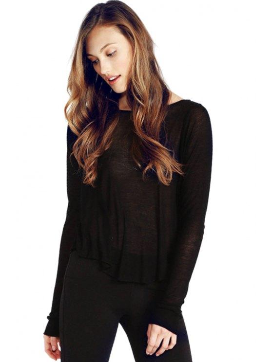 new Wings Print Long Sleeve T-Shirt - BLACK S