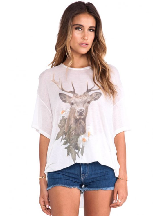 women Deer Print Half Sleeve T-Shirt - WHITE S