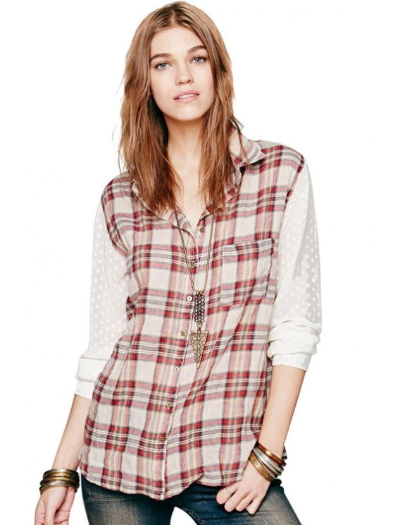 chic Plaid Splicing Long Sleeve Shirt - CHECKED S