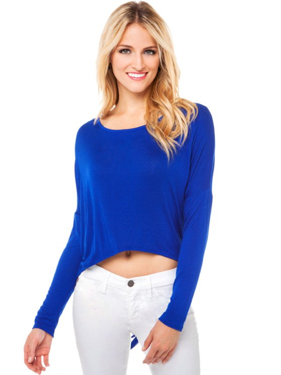 online Hollow Back Long Sleeve T-Shirt - BLUE S