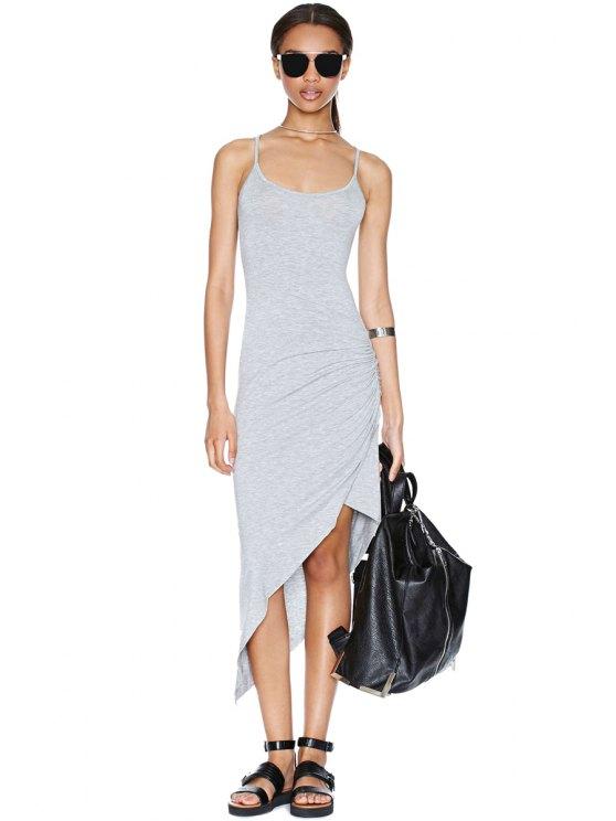 outfit Gray Irregular Spaghetti Straps Dress - GRAY S
