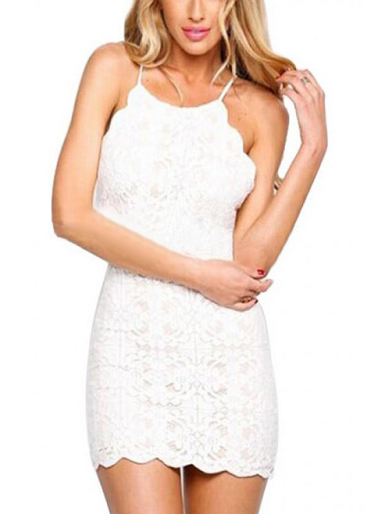 latest Spaghetti Strap Tie-Up Lace Dress - WHITE S