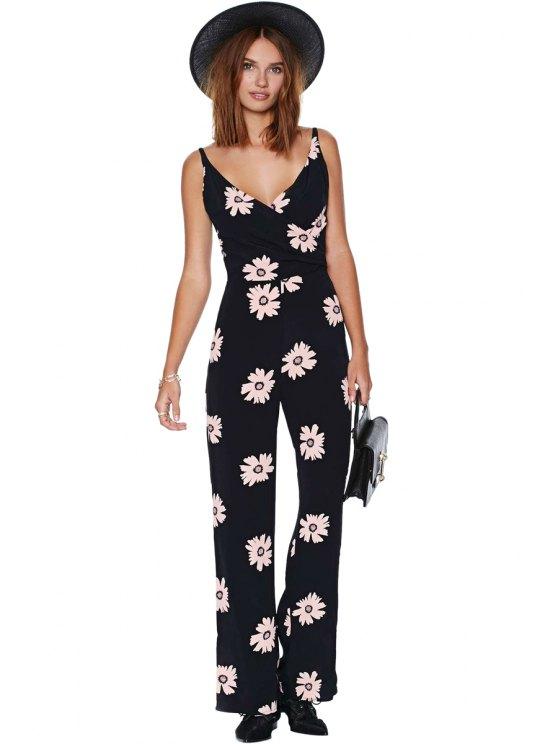 lady Floral Spaghetti Straps Jumpsuit - BLACK 2XL