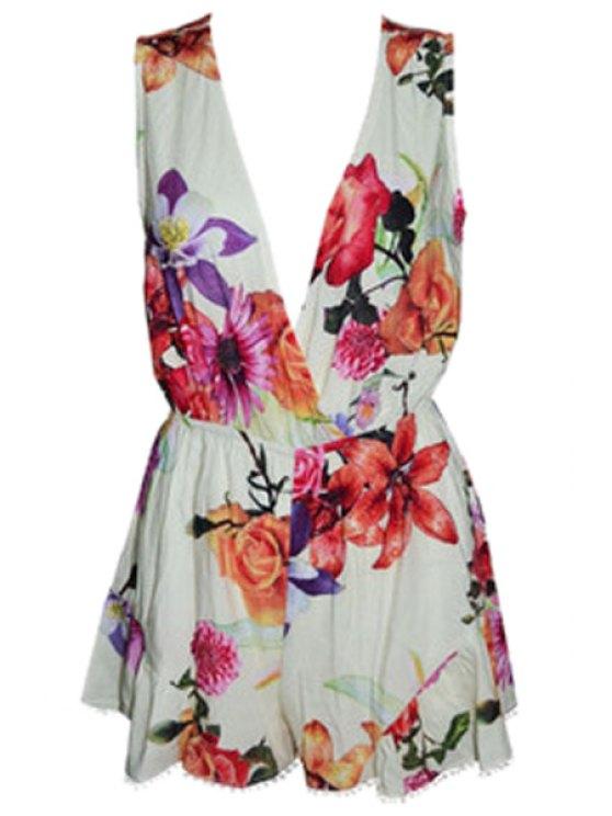 outfit V-Neck Floral Print Sleeveless Romper - WHITE S
