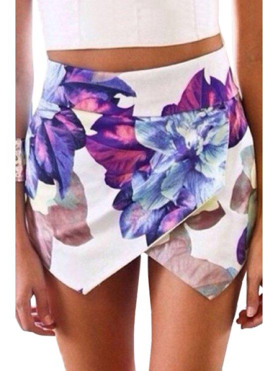buy Floral Print Asymmetrical Shorts - WHITE S