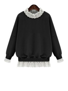 Lace Splicing Long Sleeves Sweatshirt - Black L